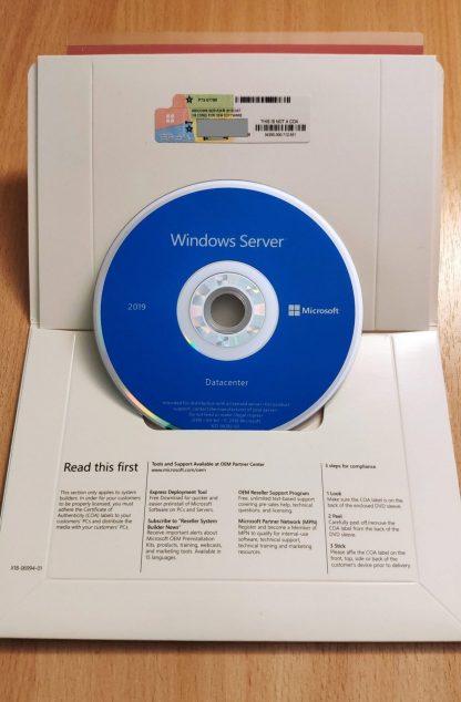 Microsoft Windows Server 2019 Datacenter 64-Bit 16 Core License COA Sticker DVD - box